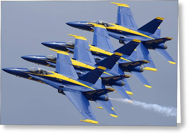 F-18 Greeting Cards - Blue Angels Four-ship Echelon NAF el Centro February 16 2012 Greeting Card by Brian Lockett