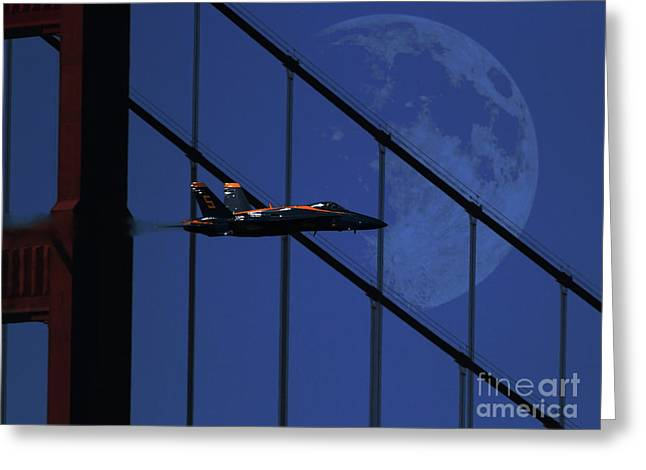 Night Angel Greeting Cards - Blue Angels Golden Gate Bridge and the Night Moon Greeting Card by Wingsdomain Art and Photography