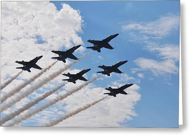 Angel Blues Greeting Cards - Blue Angels Greeting Card by Halle Kirsch
