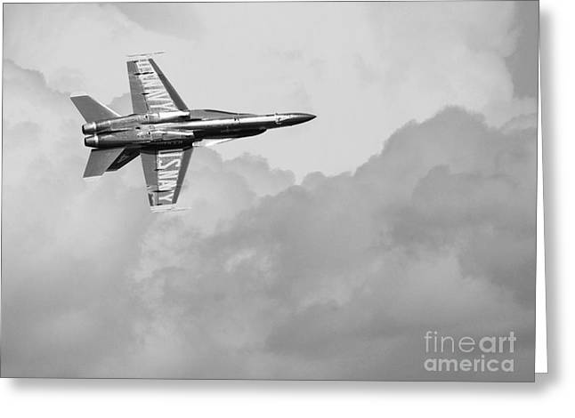 F-18 Greeting Cards - Blue Angels in the Cloud . Black and White Photograph Greeting Card by Wingsdomain Art and Photography