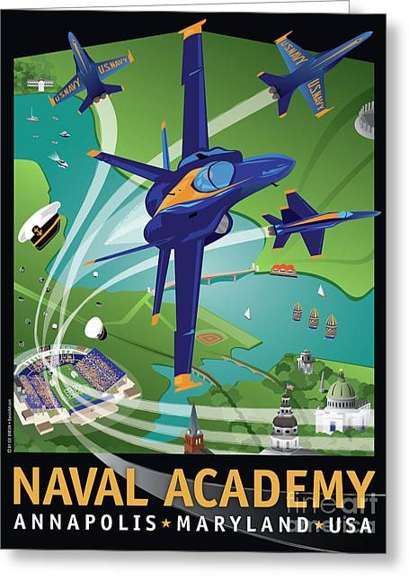 Angel Blues Digital Art Greeting Cards - Blue Angels Over USNA Greeting Card by Joe Barsin