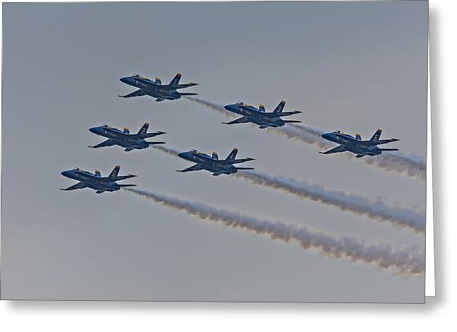 F-18 Greeting Cards - Blue Angels Greeting Card by Susan Candelario