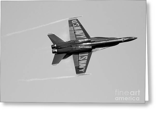 F-18 Greeting Cards - Blue Angels with Wing Vapor . Black and White Photo Greeting Card by Wingsdomain Art and Photography