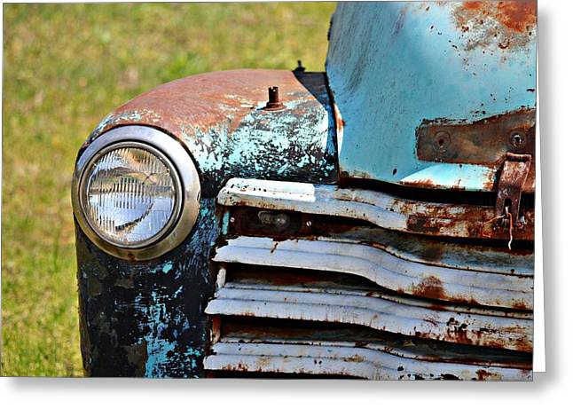 Kayecee Spain Greeting Cards - Blue Antique Chevy Grill- Fine Art Greeting Card by KayeCee Spain