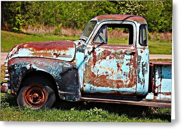 Kayecee Spain Greeting Cards - Blue Antique Chevy Truck- Fine Art Greeting Card by KayeCee Spain