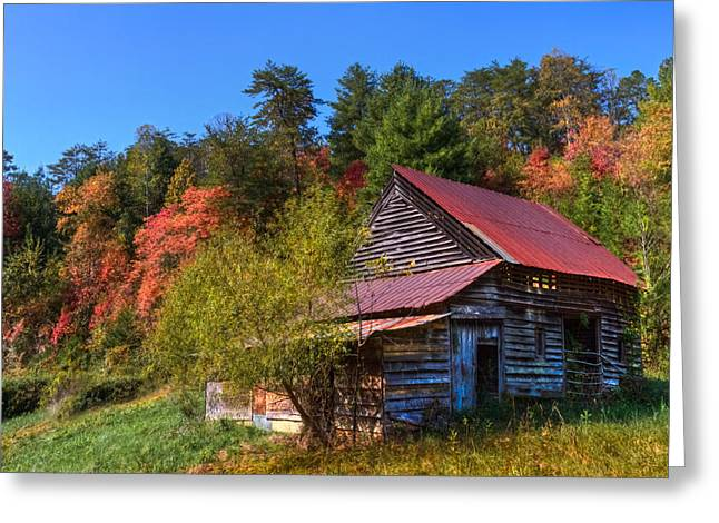 Red Roofed Barn Greeting Cards - Blue Autumn Sky Greeting Card by Debra and Dave Vanderlaan
