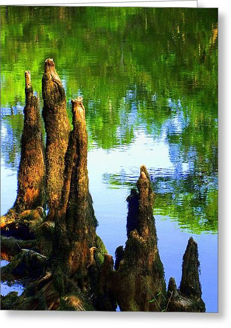 Loggers Greeting Cards - Blue Bayou Greeting Card by Karen Wiles