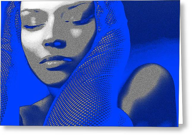 Makeup Greeting Cards - Blue Beauty Greeting Card by Naxart Studio