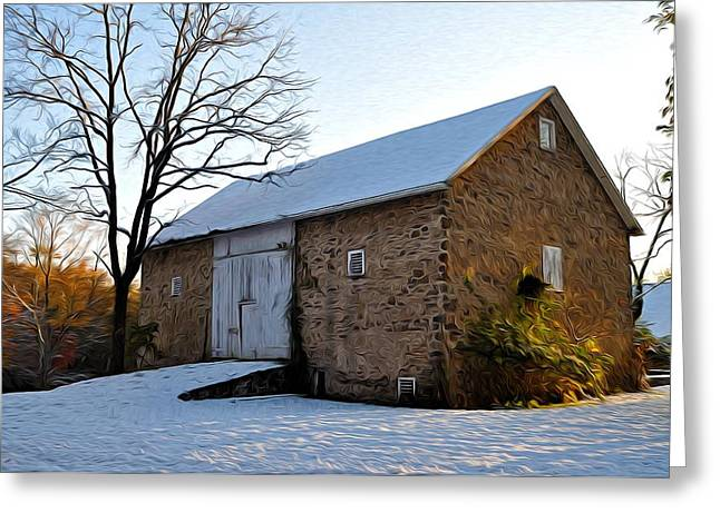 Wintery Barn Greeting Cards - Blue Bell Barn Greeting Card by Bill Cannon
