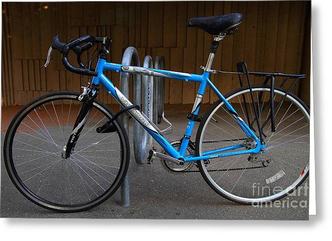 Rack Greeting Cards - Blue Bicycle . 7D10157 Greeting Card by Wingsdomain Art and Photography