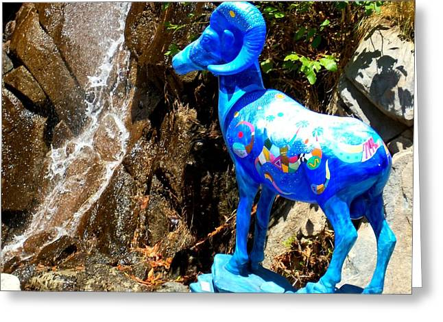 Painted Sculpture Greeting Cards - Blue Bighorn Sheep Greeting Card by Randall Weidner