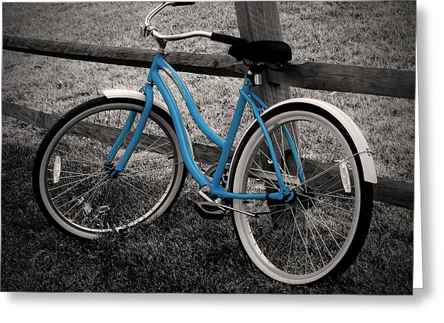 Two Bikes Greeting Cards - Blue Bike Greeting Card by Brian Mollenkopf