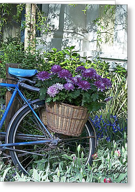 Cheri Randolph Greeting Cards - Blue Bike Greeting Card by Cheri Randolph