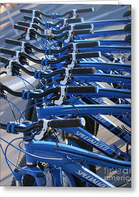 Blue Bike Greeting Cards - Blue Bikes Greeting Card by Julie Lueders