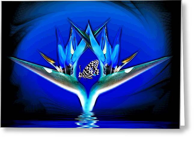 Artography Greeting Cards - Blue Bird Of Paradise Greeting Card by Joyce Dickens