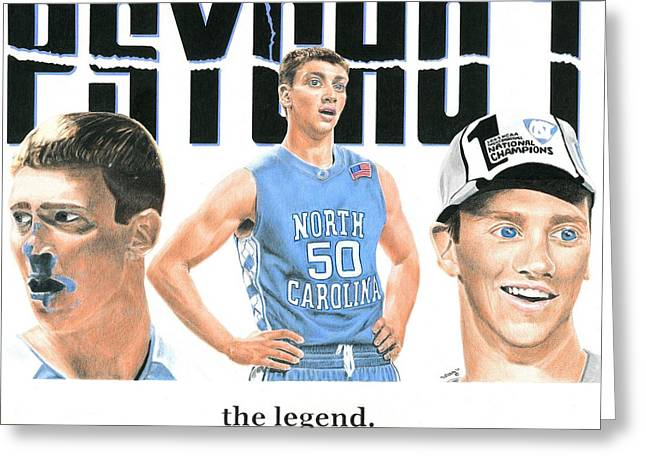 Ncaa Drawings Greeting Cards - Blue Blood Greeting Card by William Pleasant