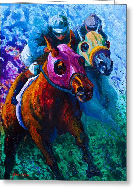 Show Jumping Greeting Cards - Blue Bloods Greeting Card by Marion Rose