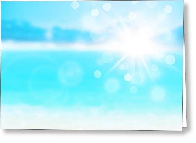 Blue Blur Natural Abstract Background  Greeting Card by Anna Omelchenko