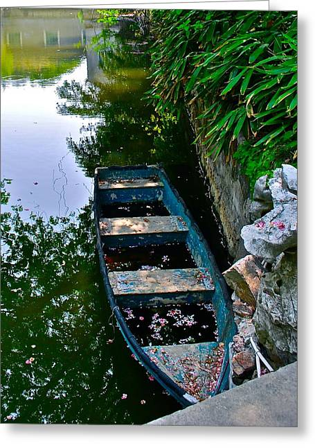 Boats In Water Greeting Cards - Blue Boat Greeting Card by Dorota Nowak