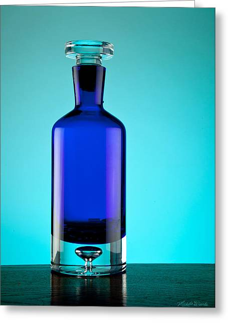 Glass Table Reflection Greeting Cards - Blue Bottle Greeting Card by Michelle Wiarda