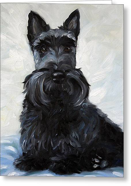 Scottish Terrier Puppy Greeting Cards - Blue Boy Greeting Card by Mary Sparrow