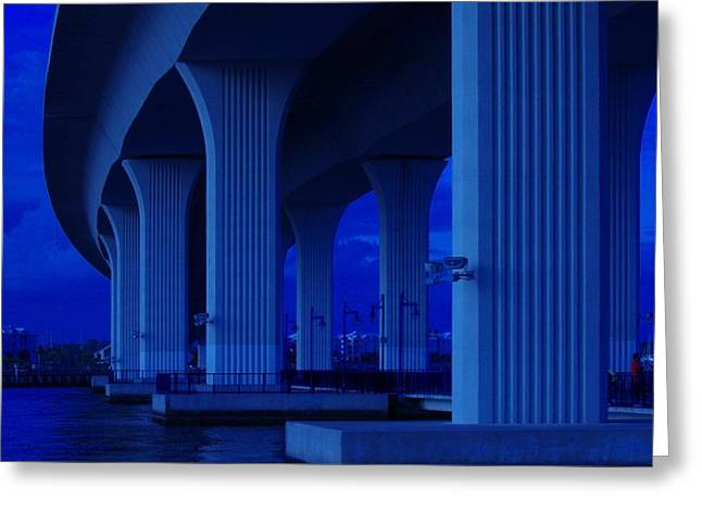 St. Lucie River Greeting Cards - Blue Bridge Greeting Card by Don Youngclaus