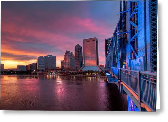 City Skylines Greeting Cards Greeting Cards - Blue Bridge Red Sky Jacksonville Skyline Greeting Card by Debra and Dave Vanderlaan