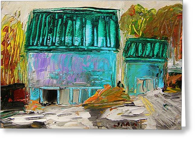 Old Barn Drawing Greeting Cards - Blue Buildings Together-Musing Greeting Card by John  Williams