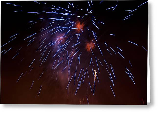 Pyrotechnics Greeting Cards - Blue Burst Greeting Card by Paul Mangold