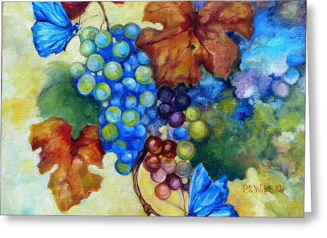 Blue Grapes Greeting Cards - Blue Butterflies and Grapevine  Greeting Card by Peggy Wilson