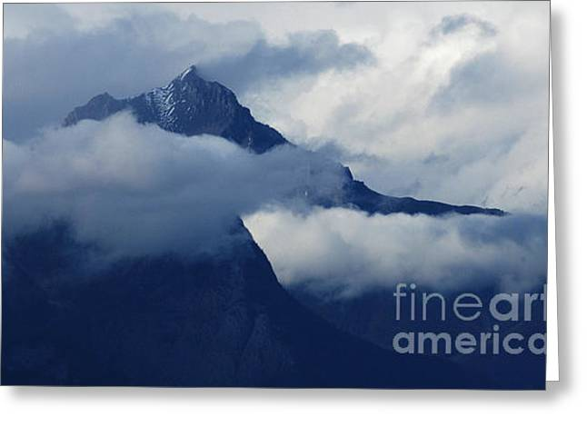 Blue Canadian Rockies Greeting Card by Bob Christopher