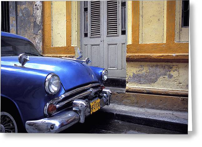 Havanna Greeting Cards - Blue Car Greeting Card by Marcus Best