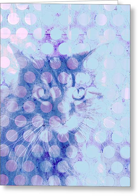 Abstract Cat Greeting Cards - Blue Cat Greeting Card by Ann Powell