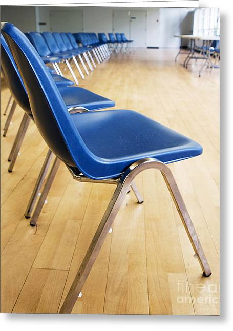 Empty Chairs Greeting Cards - Blue Chair Seating in an Auditorium Greeting Card by Marlene Ford