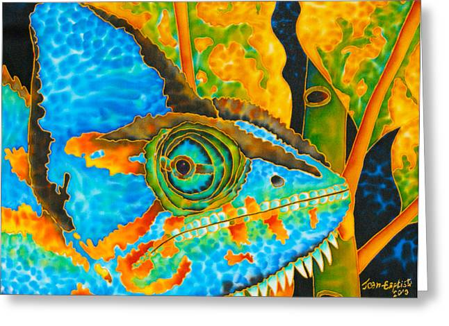 Stretched Canvas Tapestries - Textiles Greeting Cards - Blue Chameleon  Greeting Card by Daniel Jean-Baptiste