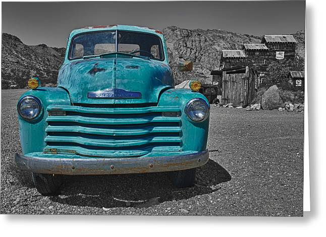 Turquoise And Rust Greeting Cards - Blue Chevy Truck Greeting Card by Joan McDaniel