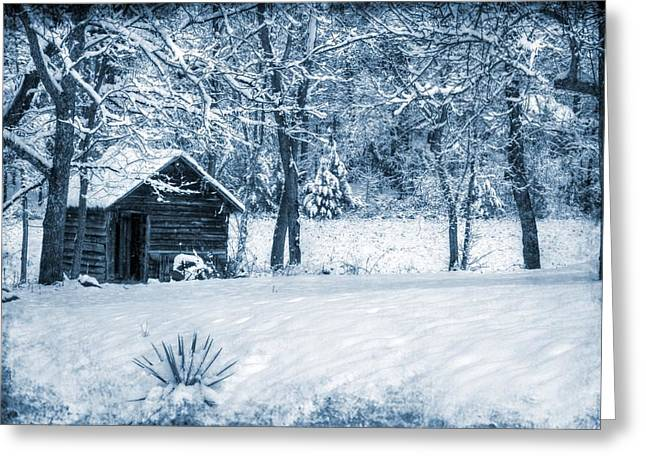 Blue Christmas Greeting Card by Christine Annas