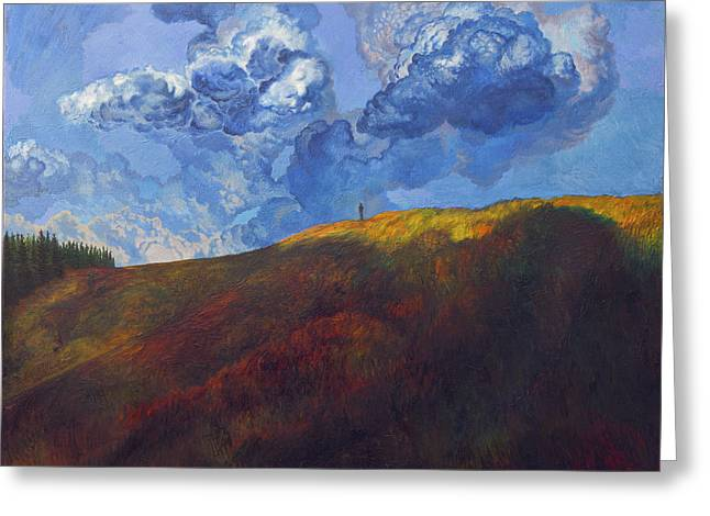 Summer Storm Paintings Greeting Cards - Blue clouds Greeting Card by Fernando Alvarez