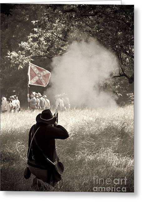Confederate Flag Mixed Media Greeting Cards - Blue Coat Gray Smoke Greeting Card by Kim Henderson