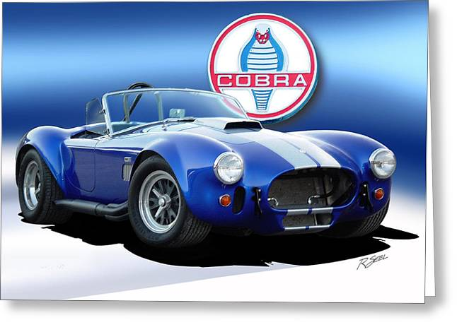Cobra Art Greeting Cards - Blue Cobra Greeting Card by Rod Seel