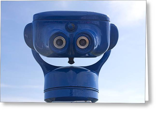 Shot Greeting Cards - Blue coin-operated binoculars Greeting Card by Bernard Jaubert