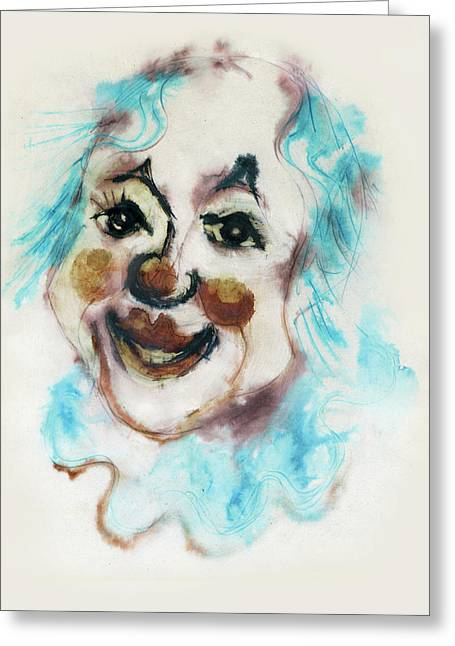 Blue Collar Clown Face With Red Nose And Lips Raised Eyebrows Smile   Greeting Card by Rachel Hershkovitz