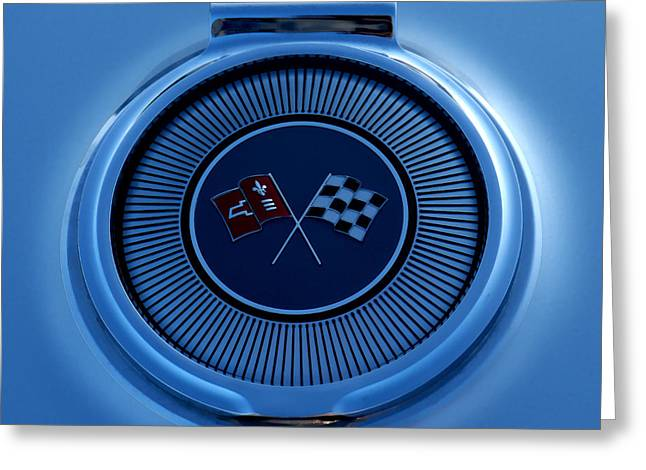 Checker Greeting Cards - Blue Corvette Badge Greeting Card by Douglas Pittman