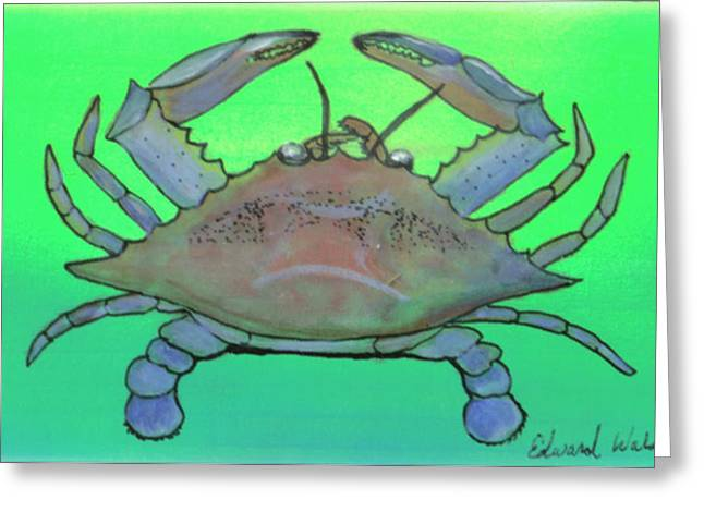 Wahoo Greeting Cards - Blue Crab  Greeting Card by Edward Walsh