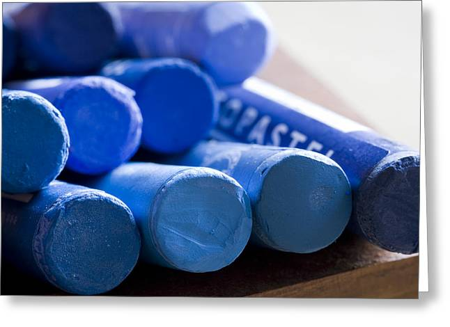 Material Life Greeting Cards - Blue crayons Greeting Card by Frank Tschakert