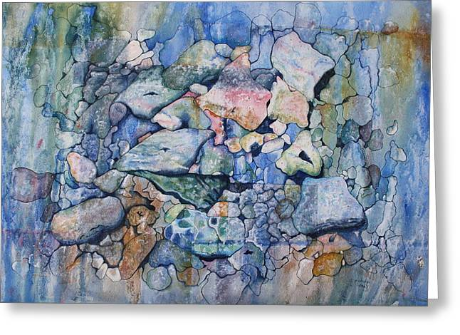 Patsy Sharpe Paintings Greeting Cards - Blue Creek Stones Greeting Card by Patsy Sharpe