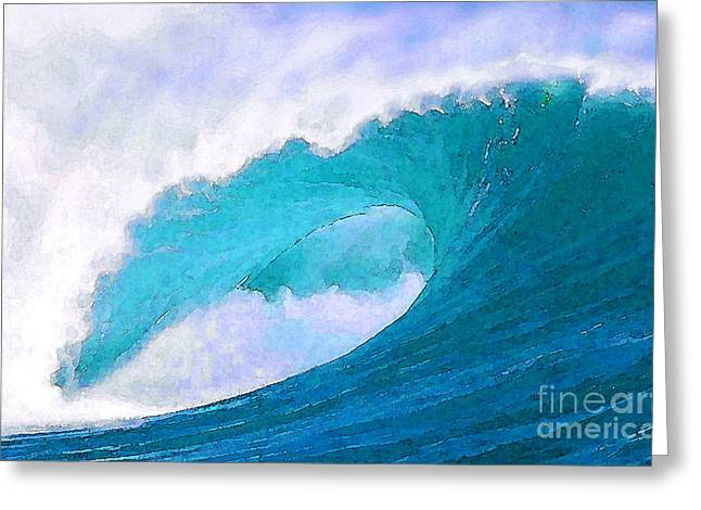 Surf Art Digital Art Greeting Cards - Blue Curl Greeting Card by Paul Topp