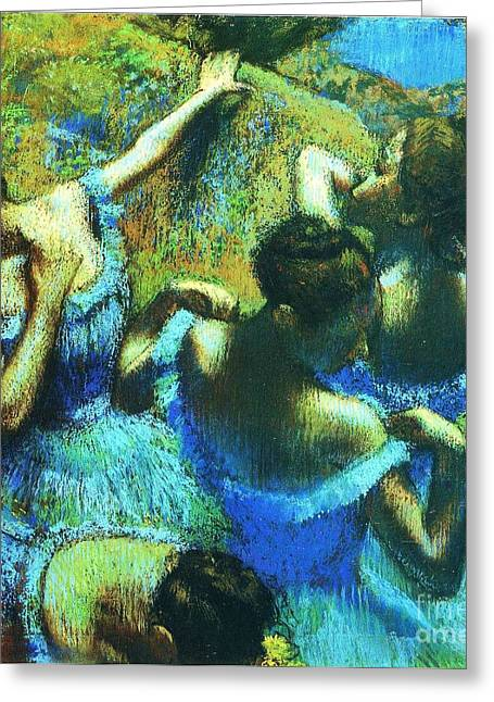 Blue Dancers Greeting Card by Pg Reproductions