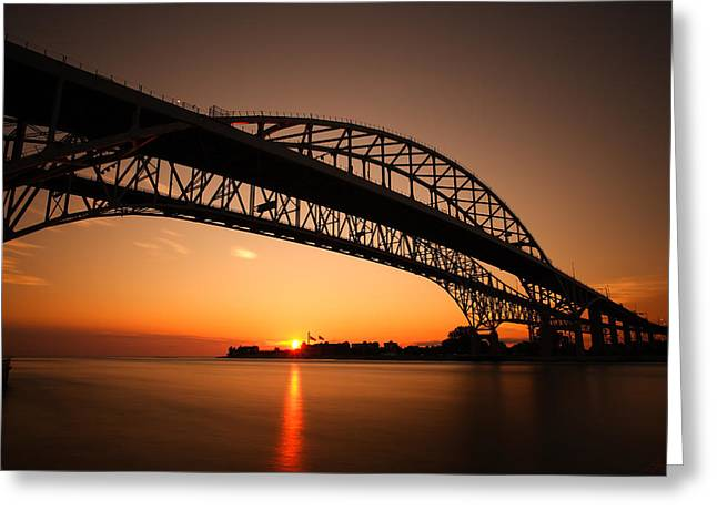 Double Span Concrete Bridge Greeting Cards - Blue Dawn Greeting Card by Gordon Dean II