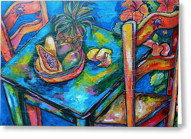 Mango Paintings Greeting Cards - Blue Day Greeting Card by Patti Schermerhorn